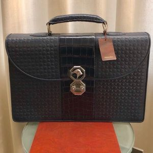 NEW Stefano Ricci Navy Blue Leather/Croc Briefcase